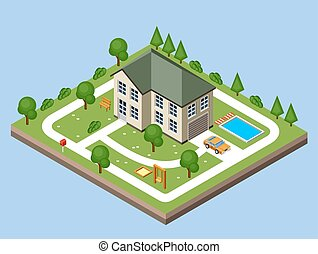 Isolated isomatic cottage. Vector illustration