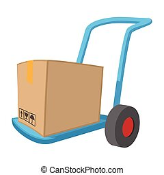 Blue hand cart with cardboard box cartoon icon on a white...