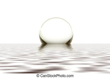 Crystal Ball - A crystal sphere rising out of calm water...