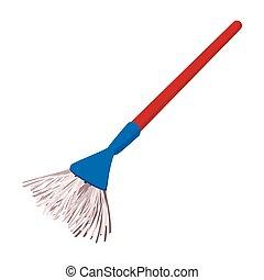 Plastic broom cartoon illustration isolated on a white...