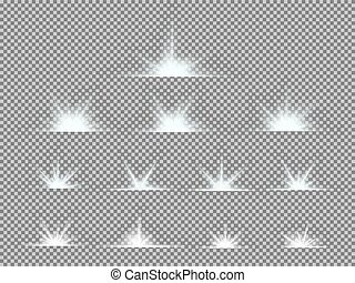 Vector set of glowing light bursts with sparkles on...