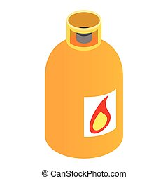 Gas bottle isometric 3d icon Orange container with flame...