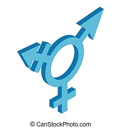 Bisexuals sign isometric 3d icon on a white background