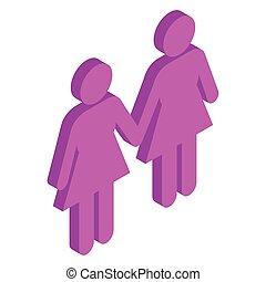 Female couple holding hands isometric 3d icon