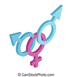 Transgender sign isometric 3d icon on a white background