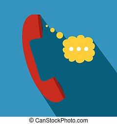 Red handset and speech cloud flat icon on a blue background
