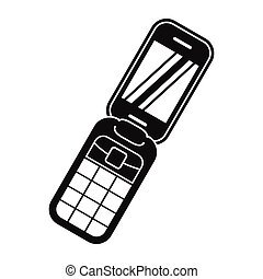 Clamshell handphone black simple icon isolated on white...