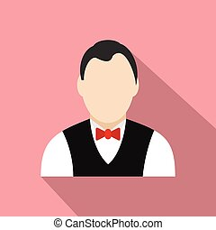 Croupier flat icon on a pink background