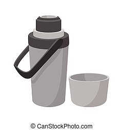 Grey thermos cartoon icon. Opened thermos with cup on a...