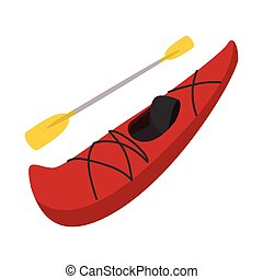 Rubber boat with oar cartoon - Red rubber boat with rowing...