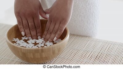 Female Hands And Manicure In Spa Salon - Hands with manicure...