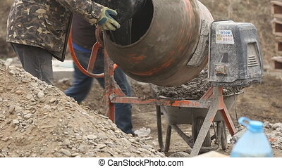 working cement mixer