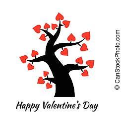 Valentines day vintage tree with hearts icon.