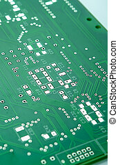 Closeup Shot of New Printed Circuit Board Prior to SMD and...