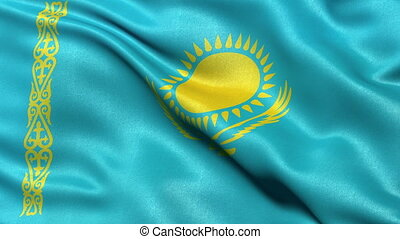 Kazakhstan flag seamless loop - Realistic flag of Kazakhstan...