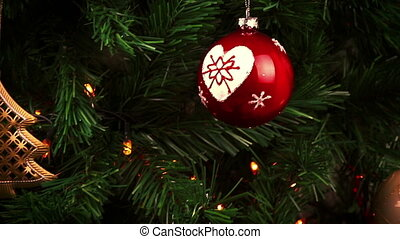 christmas decorations. abstract holiday christmas tree background lights