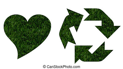 Green Going Environmentally Friendly - A heart shape in...