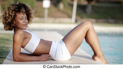 Beautiful Female Model Posing By The Pool - Beautiful...