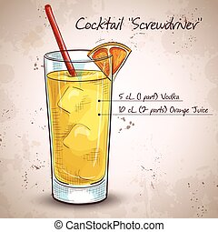 Screw driver cocktail - Screwdriver cocktail with Vodka,...