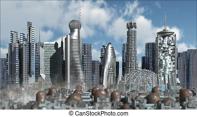 Fly in Sci-Fi city - 3d Model of Sci-Fi city with futuristic...