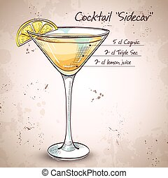 Sidecar cocktail in martini glass