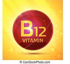 Vitamin B12 icon with bright color glossy ball for science...