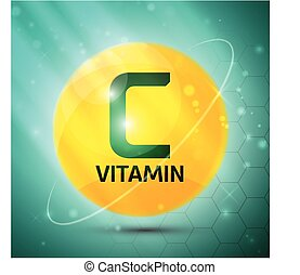 Vitamin C icon with bright color glossy ball for science...