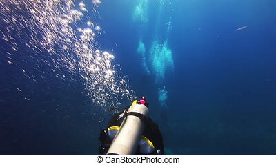 A diver swims in the blue sea and let the bubbles Amazing,...