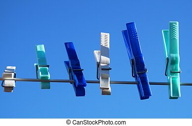 Clothespins on a clothesline