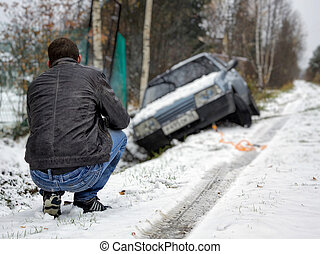 man crushed his car into the ditch