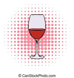 Red wine in glass comics icon