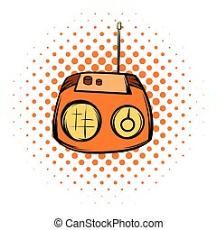 Boom box or radio cassette tape player comics icon on a...