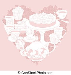 Vector Pastel Floral tea time - Vector Pastel Floral and tea...