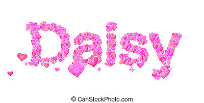 Daisy female name with hearts - Name set with hearts...