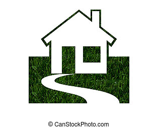 Environmentally Friendly Green Homes - House shapes in green...