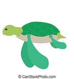 sea turtle - vector illustration of sea turtle on white...