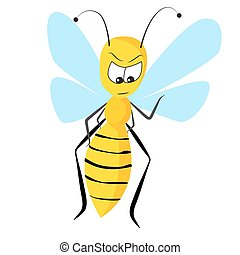 wasp - vector illustration of not so happy wasp on white...