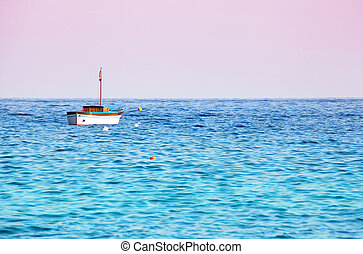 Lonely boat in the sea