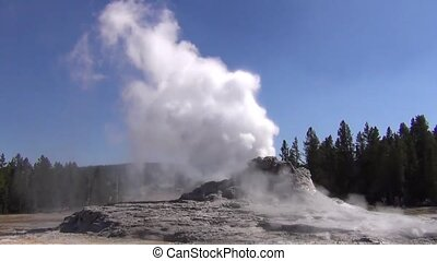 Eruption of Castle Geyser in Yellowstone National Par