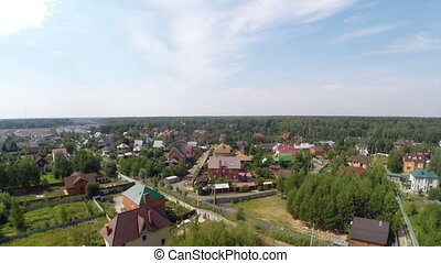 Russian village - Aerial view of the russian village near...
