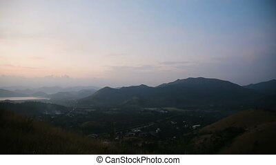 Sunset on tropical island,view from the mountain. - sunset...