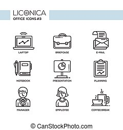 Modern office and business line flat design icons,...