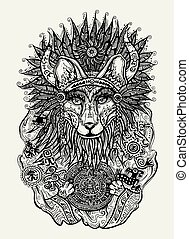 Pen and ink illustration of Indian fox holding Mayan...