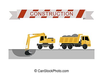 Construction machines icons - Excavator digging pit in the...