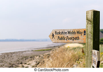 The Wolds Way - A public footpath sign on the Wolds way