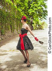 kvinna, mode,  retro
