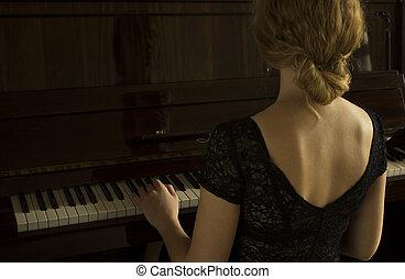 美麗, 鋼琴, 年輕, 女孩, 玩