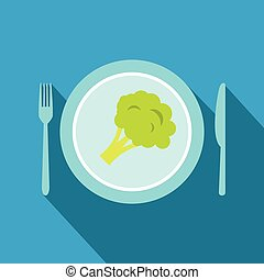 Blue plate with piece of broccoli flat icon on a blue...