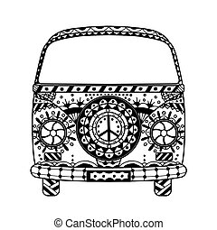 van in zentangle style - Vintage car a mini van in zentangle...