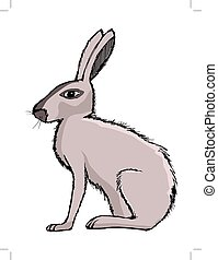 rabbit, illustration of farm animal, symbol of Easter, pet